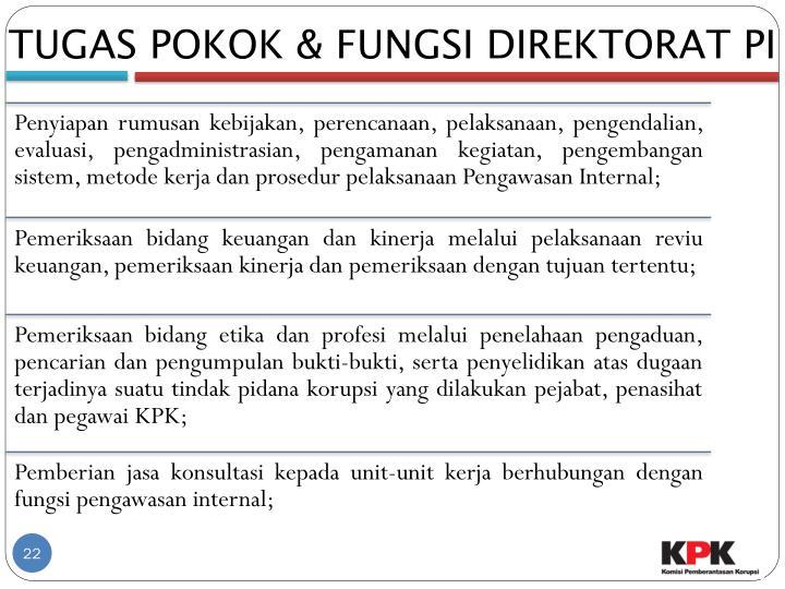 TUGAS POKOK & FUNGSI DIREKTORAT PI