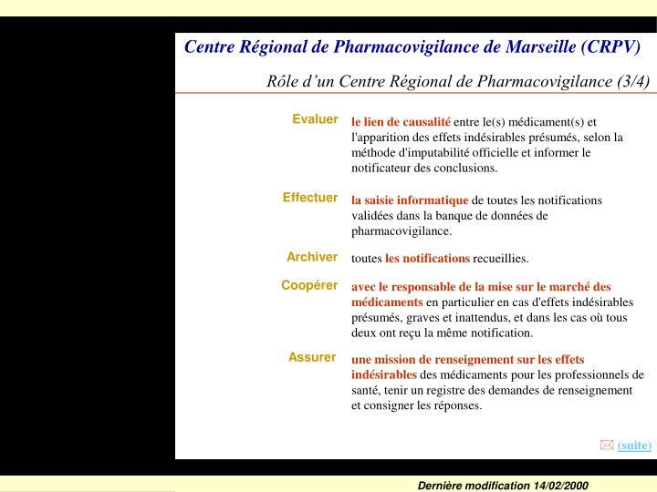 Rôle d'un Centre Régional de Pharmacovigilance (3/4)