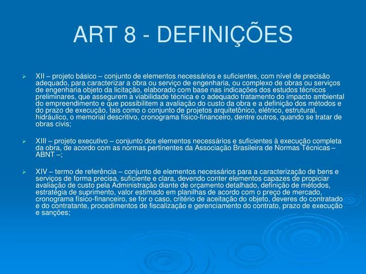 ART 8 - DEFINIÇÕES