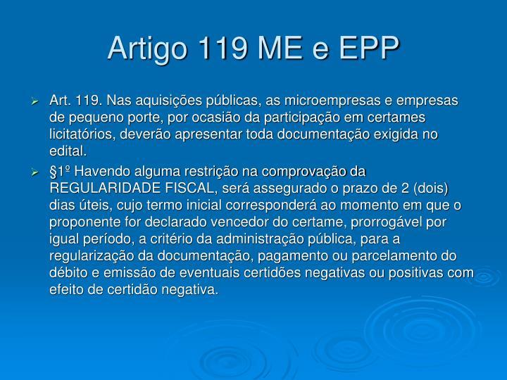Artigo 119 ME e EPP