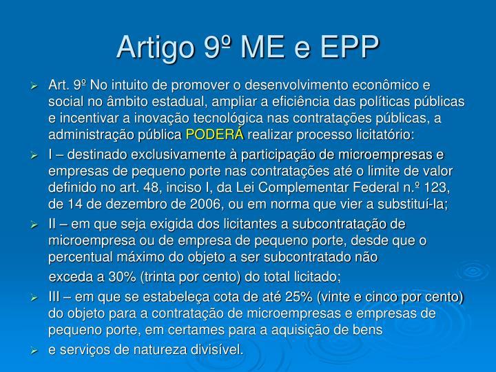 Artigo 9º ME e EPP