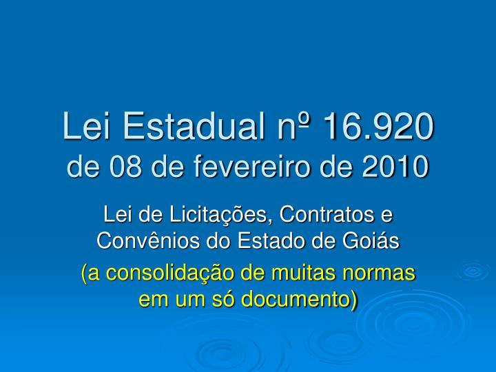 Lei Estadual nº 16.920