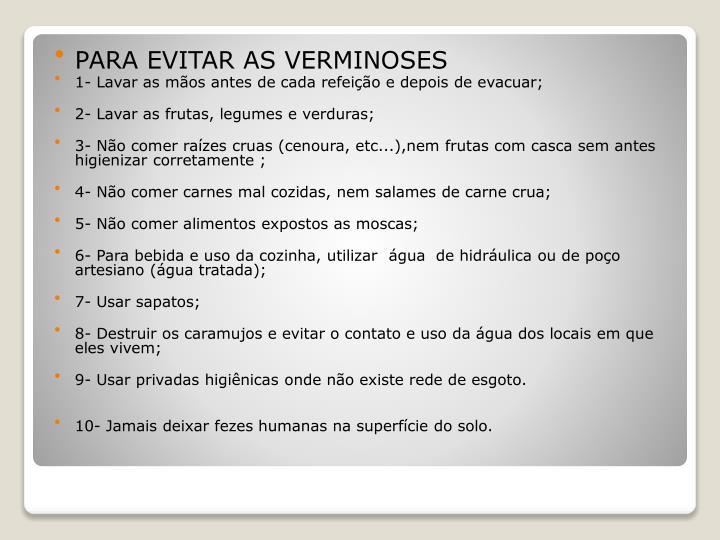 PARA EVITAR AS VERMINOSES