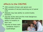 affects to the cns pns