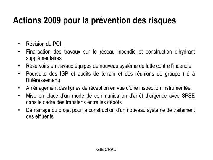 Actions 2009 pour la prévention des risques