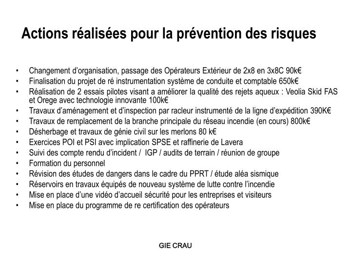 Actions réalisées pour la prévention des risques