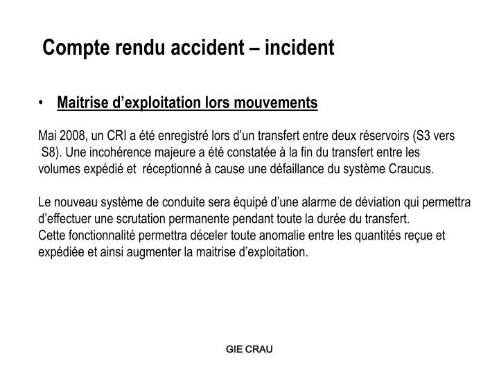 Compte rendu accident – incident