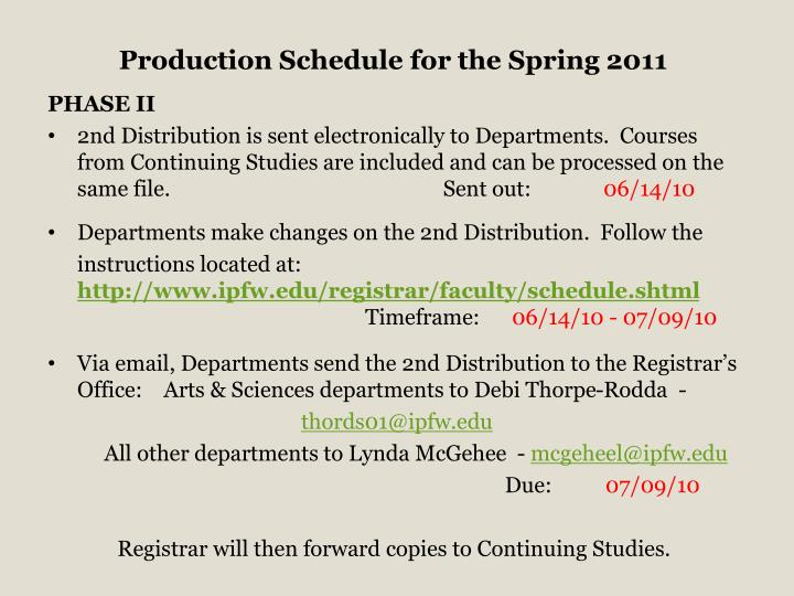 Production Schedule for the Spring 2011