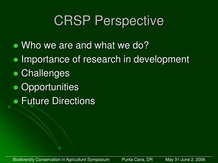 Crsp perspective