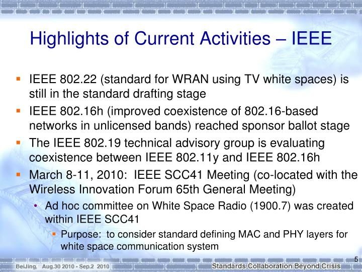 Highlights of Current Activities – IEEE