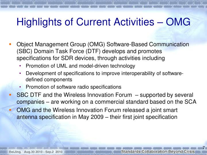 Highlights of Current Activities – OMG