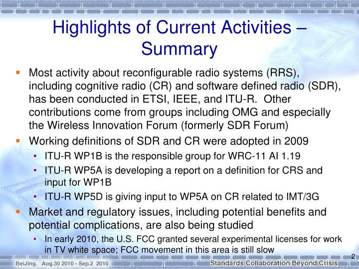 Highlights of Current Activities – Summary