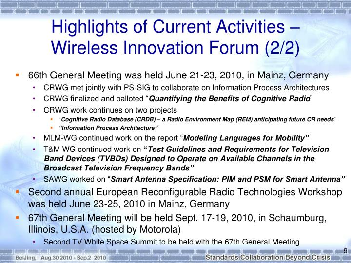 Highlights of Current Activities –
