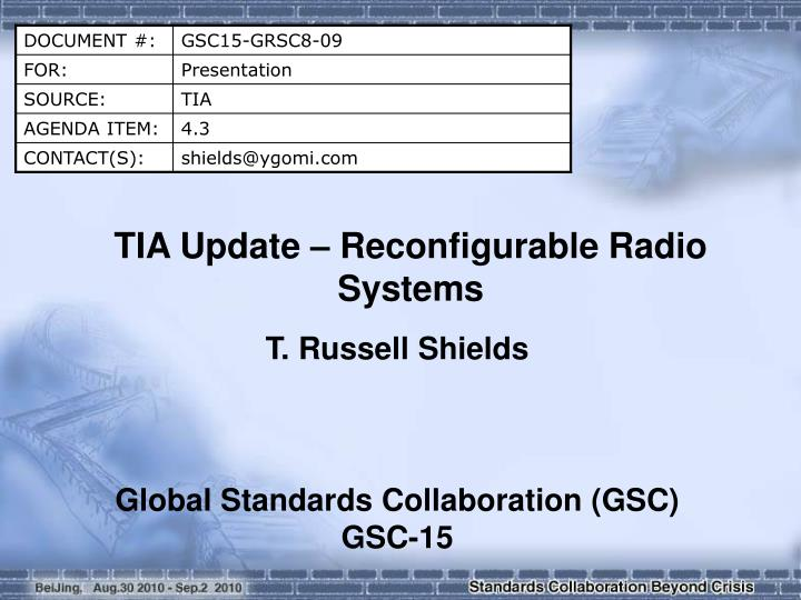 TIA Update – Reconfigurable Radio Systems