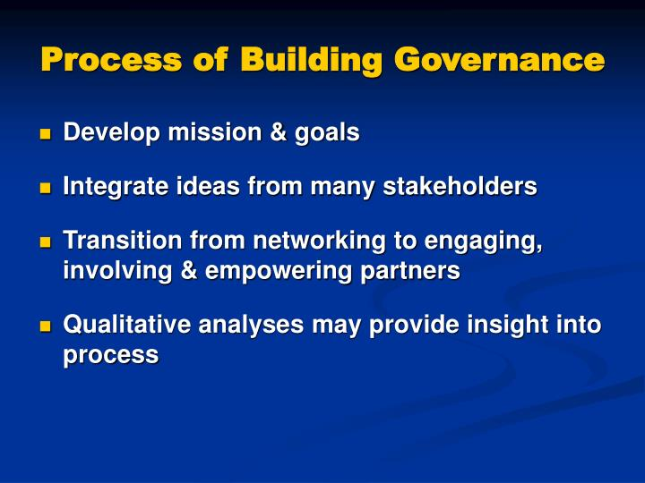 Process of building governance