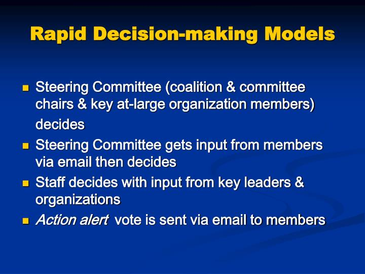 Rapid Decision-making Models
