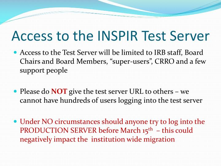 Access to the INSPIR Test Server