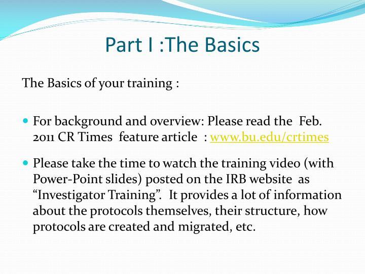 Part I :The Basics