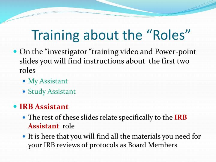 "Training about the ""Roles"""