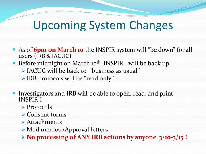 Upcoming system changes