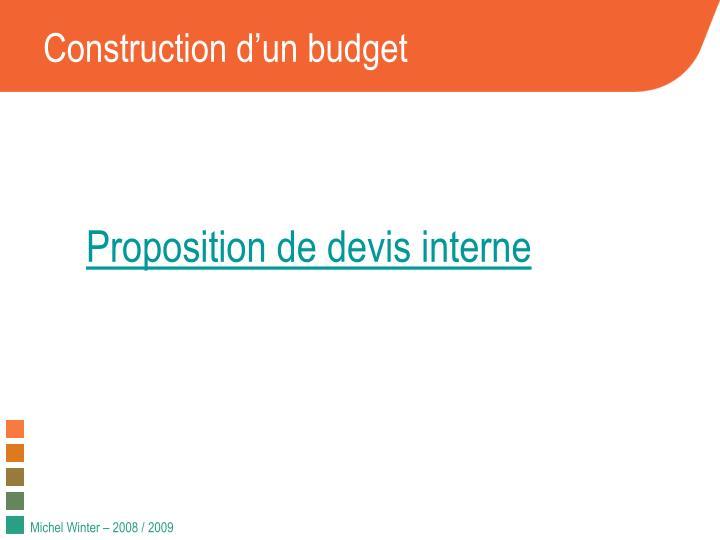 Construction d'un budget