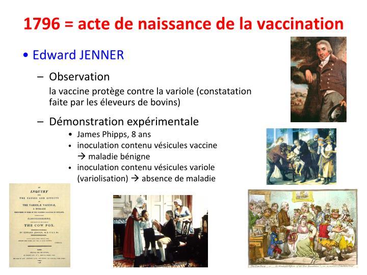 1796 = acte de naissance de la vaccination