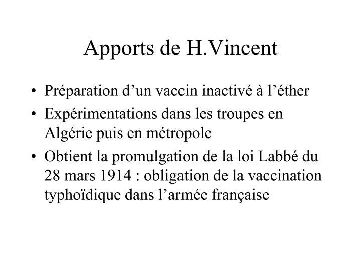 Apports de H.Vincent