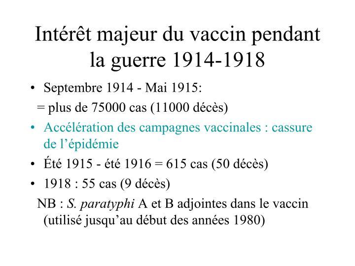 Intérêt majeur du vaccin pendant la guerre 1914-1918