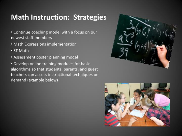 Math Instruction:  Strategies