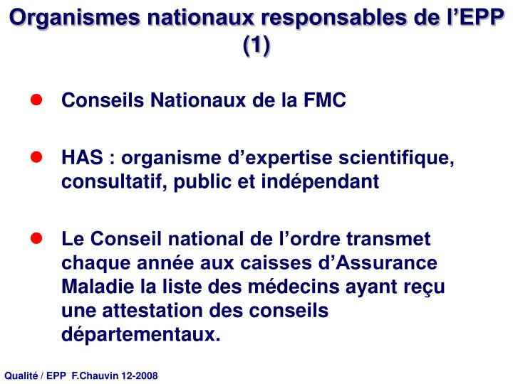 Organismes nationaux responsables de l'EPP (1)