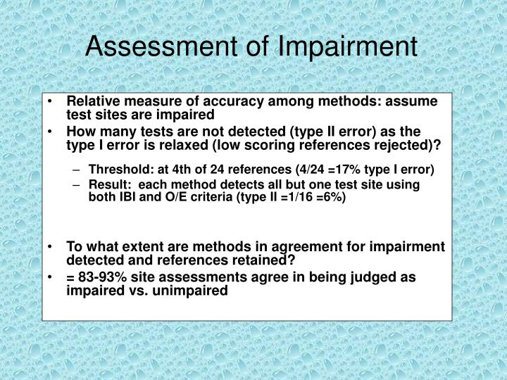 Assessment of Impairment