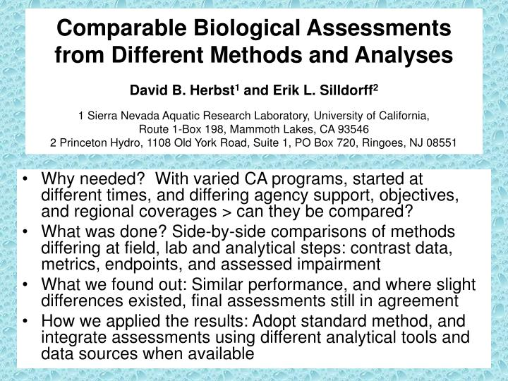 Comparable Biological Assessments