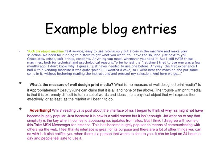 Example blog entries