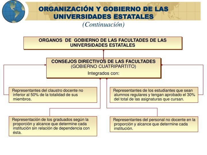 ORGANIZACIÓN Y GOBIERNO DE LAS UNIVERSIDADES ESTATALES