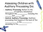 assessing children with auditory processing dis