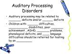 auditory processing disorders1
