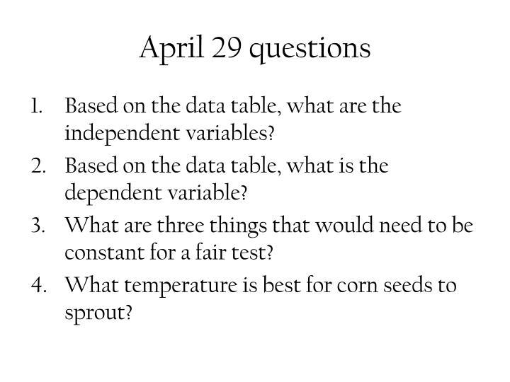 April 29 questions