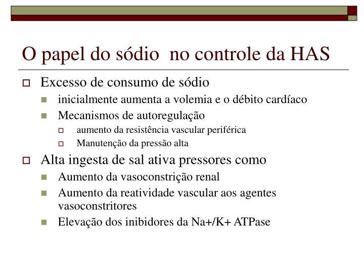 O papel do sódio  no controle da HAS