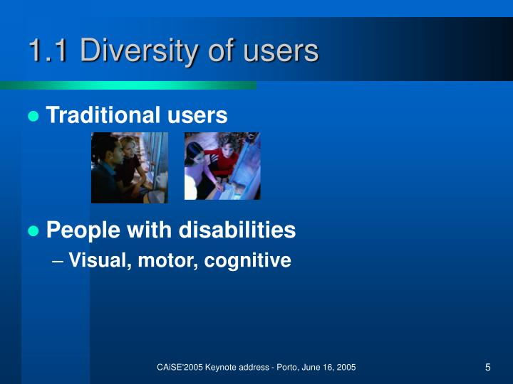 1.1 Diversity of users