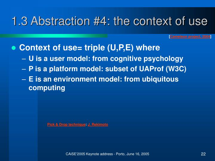 1.3 Abstraction #4: the context of use
