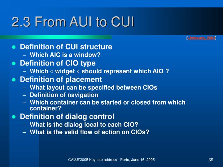 2.3 From AUI to CUI