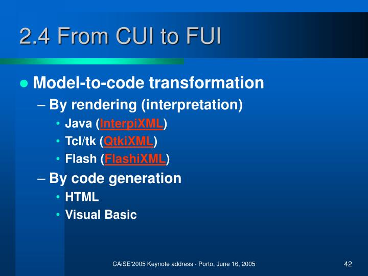 2.4 From CUI to FUI