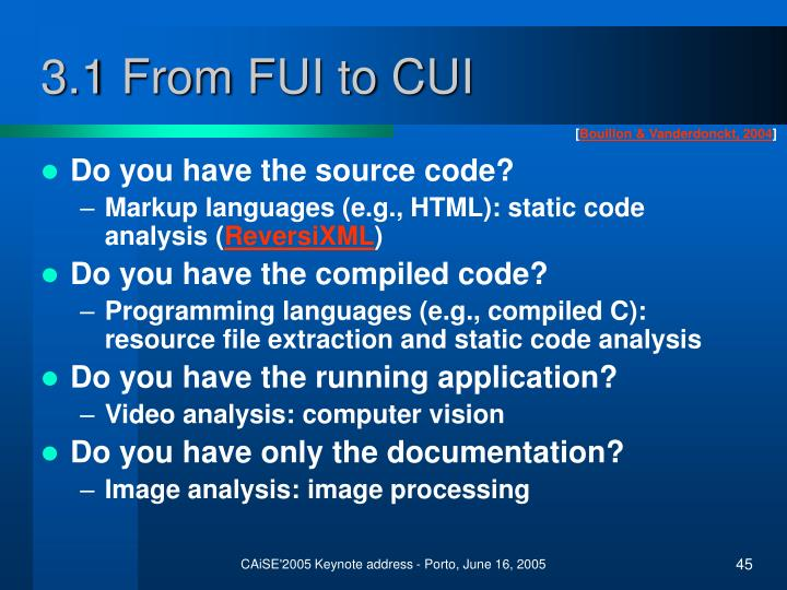 3.1 From FUI to CUI