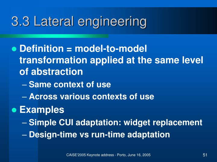 3.3 Lateral engineering