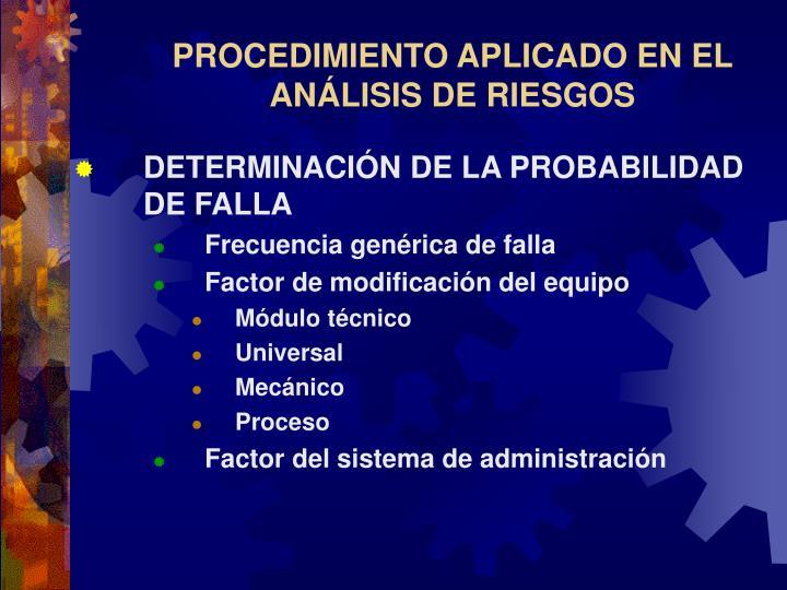 PROCEDIMIENTO APLICADO EN EL ANÁLISIS DE RIESGOS
