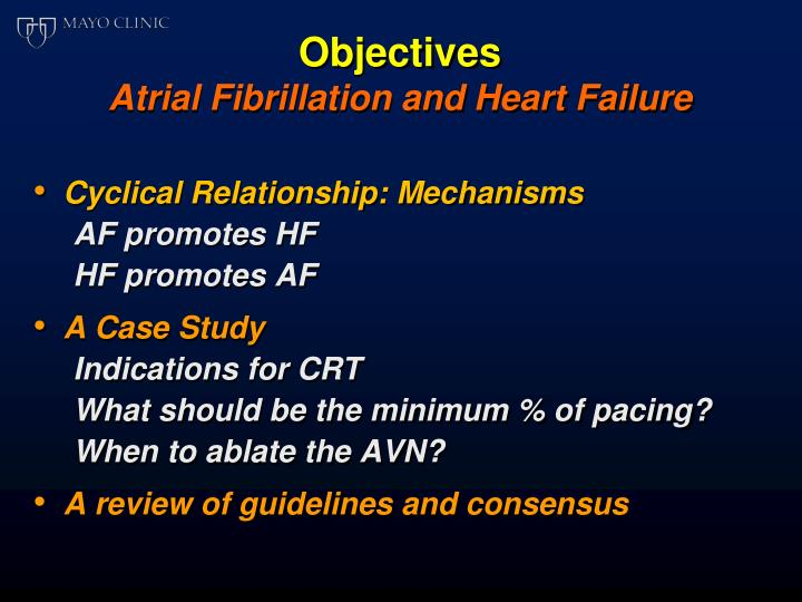 Objectives atrial fibrillation and heart failure