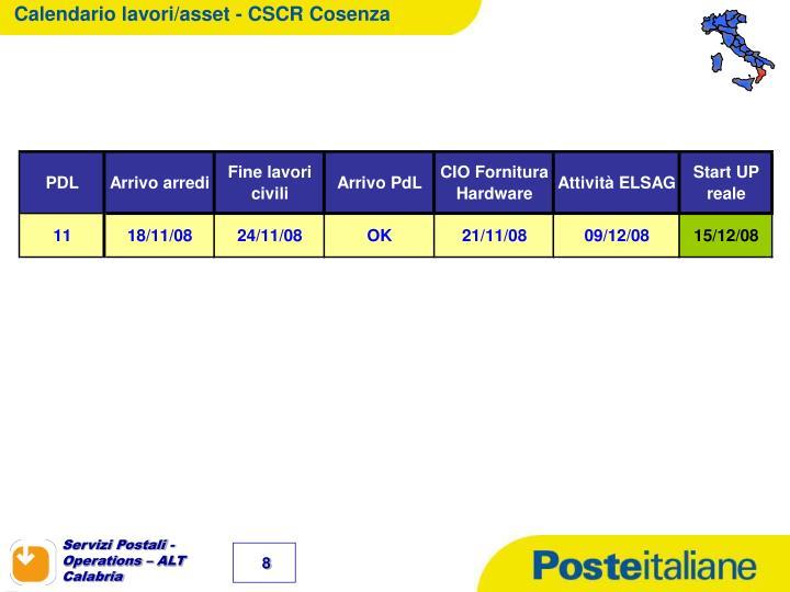 Calendario lavori/asset - CSCR Cosenza
