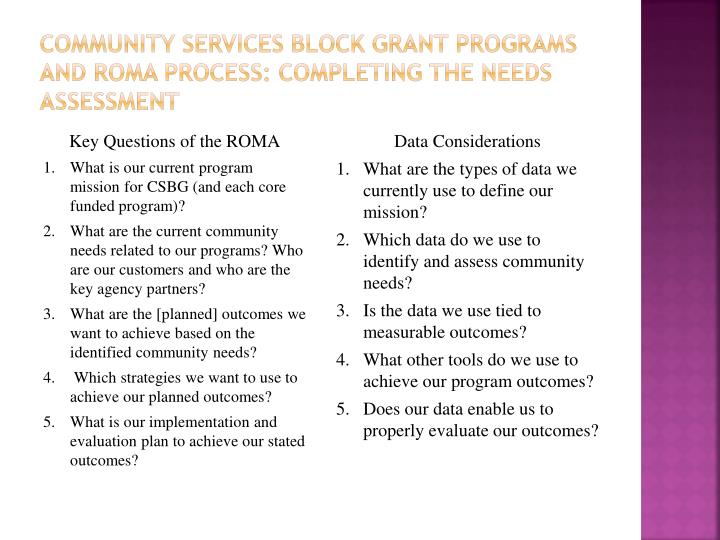 community Services Block grant Programs and roma process: Completing the Needs Assessment