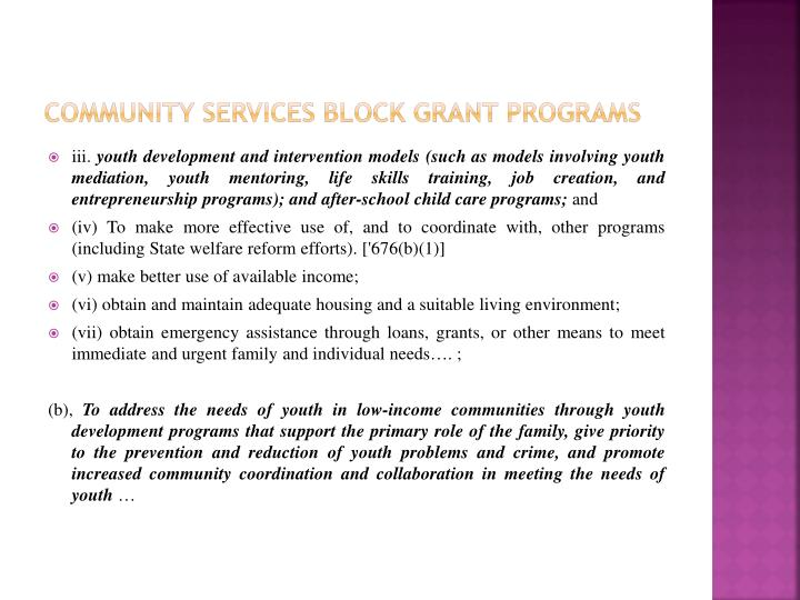 community Services Block grant Programs