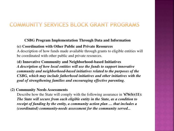 community Services Block grant Programs